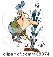 Royalty Free RF Clip Art Illustration Of A Cartoon Man Striking Oil by Ron Leishman