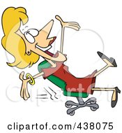 Royalty Free RF Clip Art Illustration Of A Cartoon Businesswoman Rolling In Her Chair