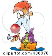 Royalty Free RF Clip Art Illustration Of A Cartoon Businessman Clown Holding A Horn by toonaday