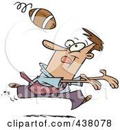 Cartoon Businessman Playing Football