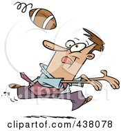 Royalty Free RF Clip Art Illustration Of A Cartoon Businessman Playing Football by toonaday