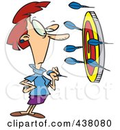 Royalty Free RF Clip Art Illustration Of A Cartoon Businesswoman Off Target With Darts by toonaday