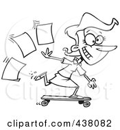 Royalty Free RF Clip Art Illustration Of A Cartoon Black And White Outline Design Of A Businesswoman Skateboarding In The Office by toonaday