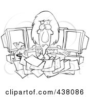 Royalty Free RF Clip Art Illustration Of A Cartoon Black And White Outline Design Of A Businesswoman Buried In Tax Documents By Computers