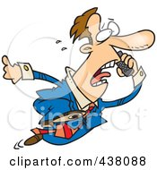 Royalty Free RF Clip Art Illustration Of A Cartoon Businessman Running And Talking On A Cell Phone by toonaday