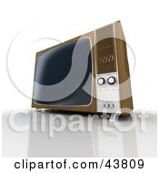 Clipart Illustration Of An Old Wood Box TV