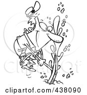 Royalty Free RF Clip Art Illustration Of A Cartoon Black And White Outline Design Of A Man Striking Oil by toonaday