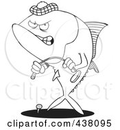 Royalty Free RF Clip Art Illustration Of A Cartoon Black And White Outline Design Of A Mad Tuna Fish Playing Golf by toonaday