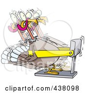 Royalty Free RF Clip Art Illustration Of A Cartoon Turkey Bird Exercising On A Treadmill by toonaday