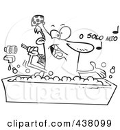 Royalty Free RF Clip Art Illustration Of A Cartoon Black And White Outline Design Of A Man Singing And Bathing In A Tub by toonaday