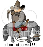 Cowboy Sitting On Horse Saddle Wrong While Holding Reins Clipart