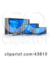 Clipart Illustration Of Three Different Sized Flat Panel LCD Televisions With Blue Screen Savers
