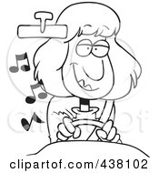 Royalty Free RF Clip Art Illustration Of A Cartoon Black And White Outline Design Of A Happy Woman Listening To Music While Driving A Car