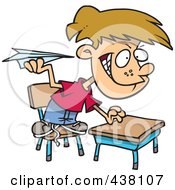 Royalty Free RF Clip Art Illustration Of A Mischievous Cartoon School Boy Throwing Paper Planes In Class by toonaday