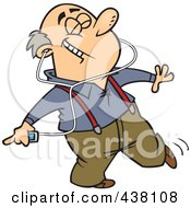Royalty Free RF Clip Art Illustration Of A Cartoon Man Dancing And Listening To Music On An Mp3 Player
