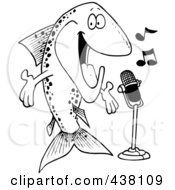 Royalty Free RF Clip Art Illustration Of A Cartoon Black And White Outline Design Of A Musical Trout Singing
