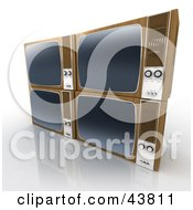 Clipart Illustration Of Four 3d Stacked Box Televisions