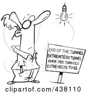 Royalty Free RF Clip Art Illustration Of A Cartoon Black And White Outline Design Of A Man At An End Of The Tunnel Sign