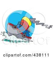 Royalty Free RF Clip Art Illustration Of A Cartoon Tug Boat At Sea