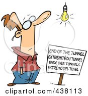 Royalty Free RF Clip Art Illustration Of A Cartoon Man At An End Of The Tunnel Sign by toonaday