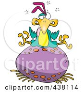 Royalty Free RF Clip Art Illustration Of A Cartoon Bird Sitting On A Huge Egg