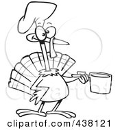 Royalty Free RF Clip Art Illustration Of A Cartoon Black And White Outline Design Of A Chef Turkey Bird Holding A Pot