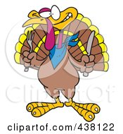 Royalty Free RF Clip Art Illustration Of A Cartoon Turkey Bird Holding A Knife And Fork by toonaday