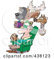 Royalty Free RF Clip Art Illustration Of A Cartoon Man Surrounded By His Mounted Animal Trophy Heads