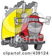 Royalty Free RF Clip Art Illustration Of A Cartoon Big Rig Releasing A Lot Of Exhaust
