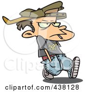 Royalty Free RF Clip Art Illustration Of A Cartoon Troubled Boy Walking And Smoking by toonaday