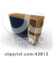 Clipart Illustration Of An Old Box Television Framed In Wood