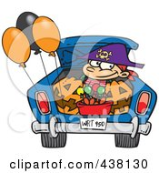 Royalty Free RF Clip Art Illustration Of A Cartoon Trick Or Treating Boy In The Trunk Of A Car