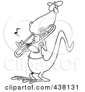 Royalty Free RF Clip Art Illustration Of A Cartoon Black And White Outline Design Of A Lizard Playing A Trombone by toonaday