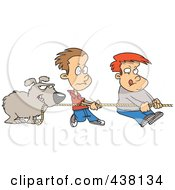Royalty Free RF Clip Art Illustration Of A Cartoon Dog And Boys Tugging On A Rope by toonaday
