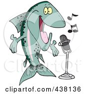 Royalty Free RF Clip Art Illustration Of A Cartoon Musical Trout Singing by toonaday