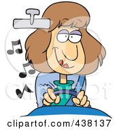 Royalty Free RF Clip Art Illustration Of A Cartoon Woman Listening To Music While Driving A Car