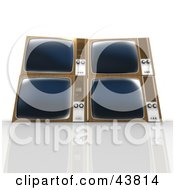 Clipart Illustration Of Four 3d Box Televisions Stacked For Electronics Recycling