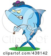 Royalty Free RF Clip Art Illustration Of A Cartoon Mad Tuna Fish Playing Golf by toonaday