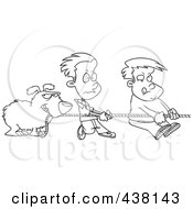 Royalty Free RF Clip Art Illustration Of A Cartoon Black And White Outline Design Of A Dog And Boys Tugging On A Rope by toonaday