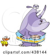 Royalty Free RF Clip Art Illustration Of A Cartoon Bath Time Rhino In A Towel Pulling A Rubber Ducky And Holding A Brush by toonaday