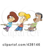 Cartoon Girl And Boys Pulling A Rope