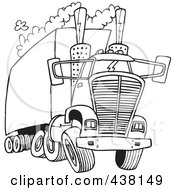 Royalty Free RF Clip Art Illustration Of A Cartoon Black And White Outline Design Of A Big Rig Releasing A Lot Of Exhaust