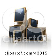 Clipart Illustration Of Old Box TVs Being Tossed Out