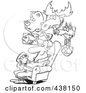 Royalty Free RF Clip Art Illustration Of A Cartoon Black And White Outline Design Of A Man Surrounded By His Mounted Animal Trophy Heads by toonaday