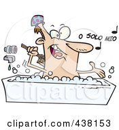 Royalty Free RF Clip Art Illustration Of A Cartoon Man Singing And Bathing In A Tub by toonaday