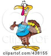 Royalty Free RF Clip Art Illustration Of A Cartoon Turkey Bird Wearing An Eat Beef Shirt