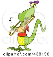 Royalty Free RF Clip Art Illustration Of A Cartoon Lizard Playing A Trombone by toonaday