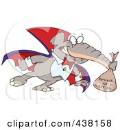 Royalty Free RF Clip Art Illustration Of A Cartoon Dracula Elephant Trunk Or Treating On Halloween by toonaday
