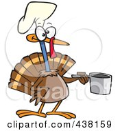 Royalty Free RF Clip Art Illustration Of A Cartoon Chef Turkey Bird Holding A Pot by Ron Leishman
