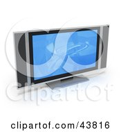 Clipart Illustration Of A Blue Screen Saver On A Flat Panel Plasma Television With Built In Speakers